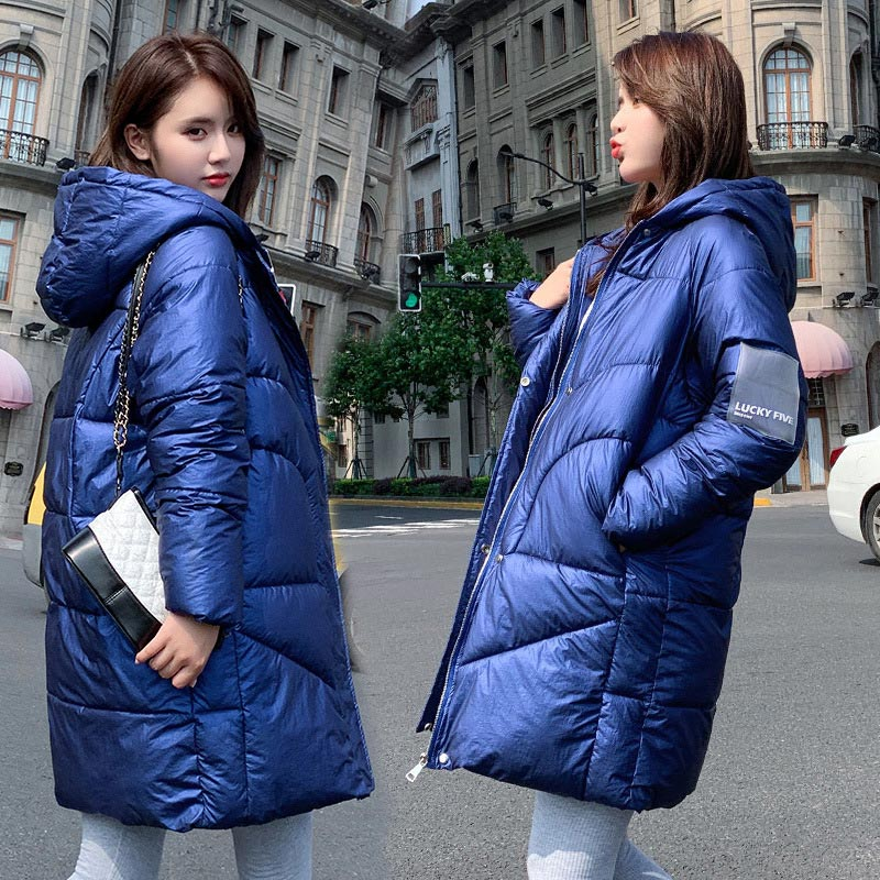 Winter Oversized Puffer Jacket Women Long   Parkas   Hooded Epaulet Cotton Padded Coat Female 2019 Thicken Jackets Solid   Parka   Lady