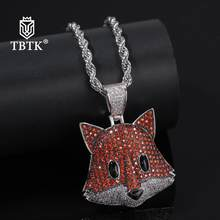 TBTK Iced Out Vivid Red Fox Animal Pendants Necklace Chain Men Hiphop Jewelry Personalized Gold Pendant Trendy 2019 New Arrivals(China)