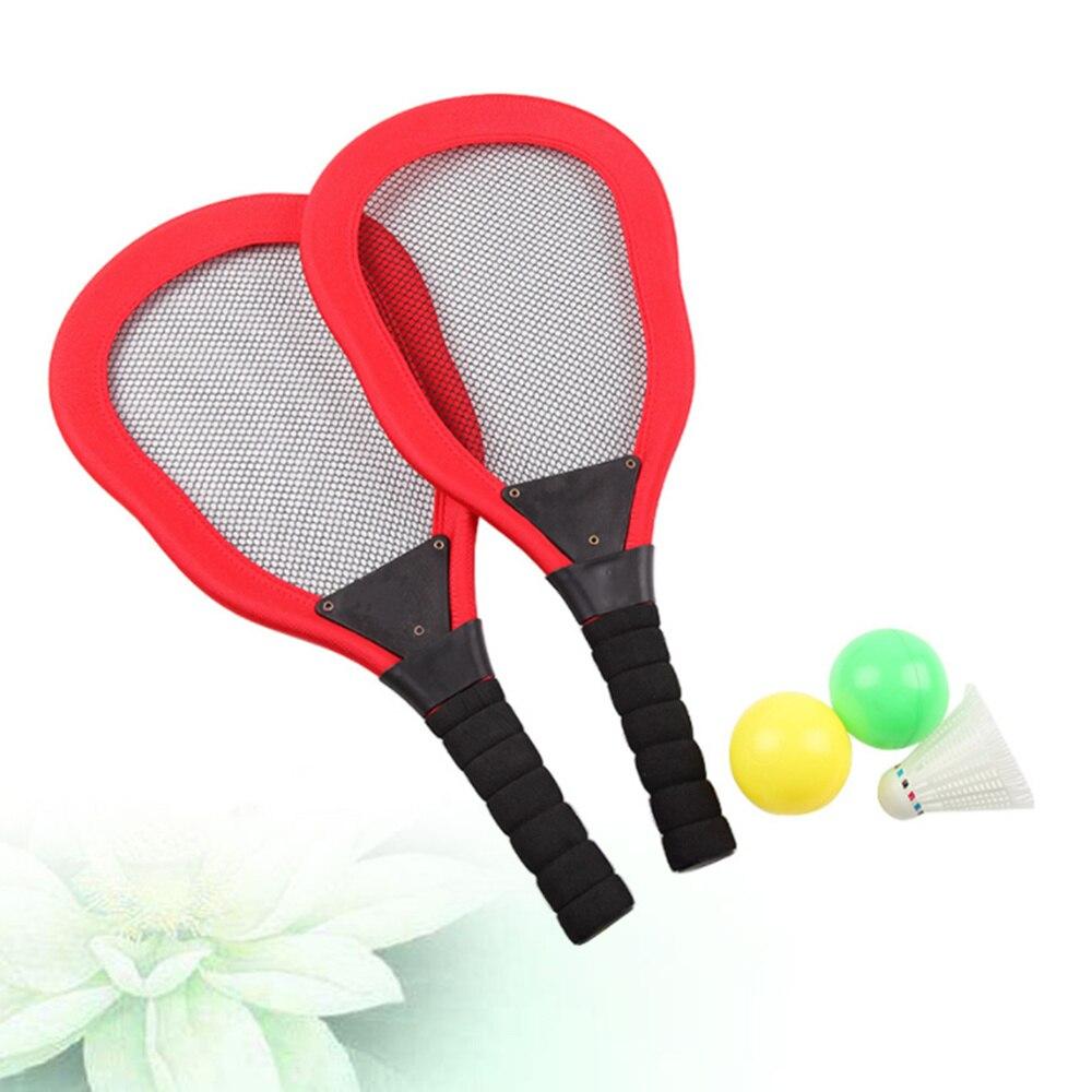 5 pièces Sports enfants tissu Art raquette de Tennis Badminton raquette de plage enfants fournitures de plein air (rouge 2 pièces raquette + 1pc Badminton