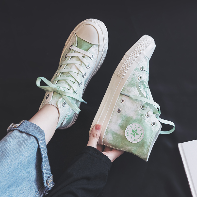 Girls Sneakers Printing And Dyeing 2019 Autumn New High-top Canvas Shoes For Female Good Quality Famous Brand Women Trainers