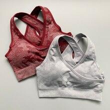Nepoagym apoio médio camo bra super macio cruz strappy esporte sutiã de alto impacto acolchoado push up bra