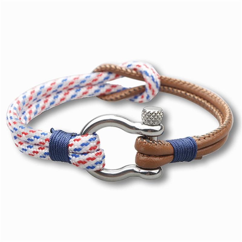 Trend Genuine Leather Charm Rope Bracelet Metal Geometric Men Outdoor Wristband Bracelets For Women Cowhide Braided New Fashion