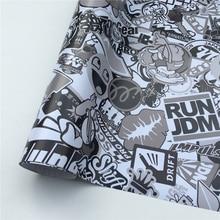 White Sticker Bomb Vinyl-Wrap Black Sheet Bike-Console JDM Bubble-Free HD