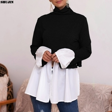 SHUJIN Turtleneck Sweater For Women Knitted Patchwork Pullov