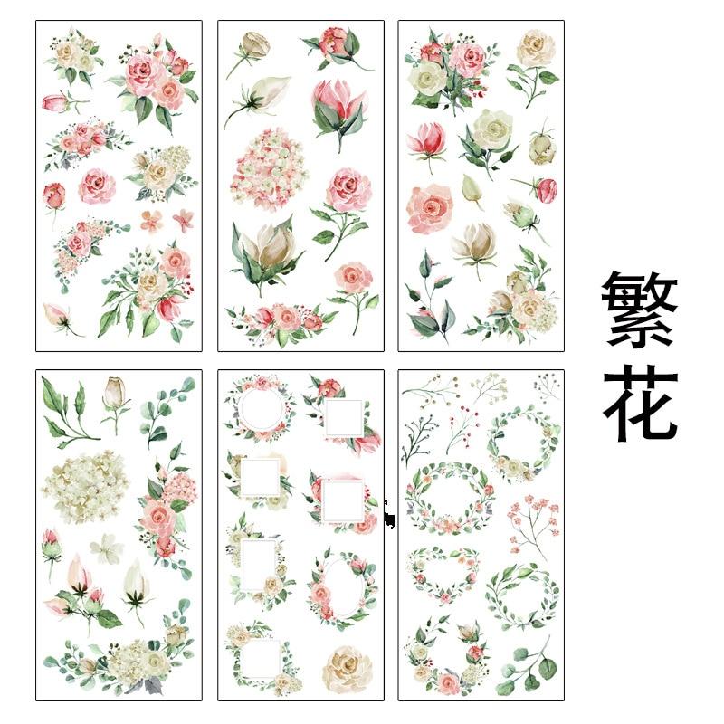 6 листов в упаковке, декоративные наклейки с большими розовыми цветами и листьями