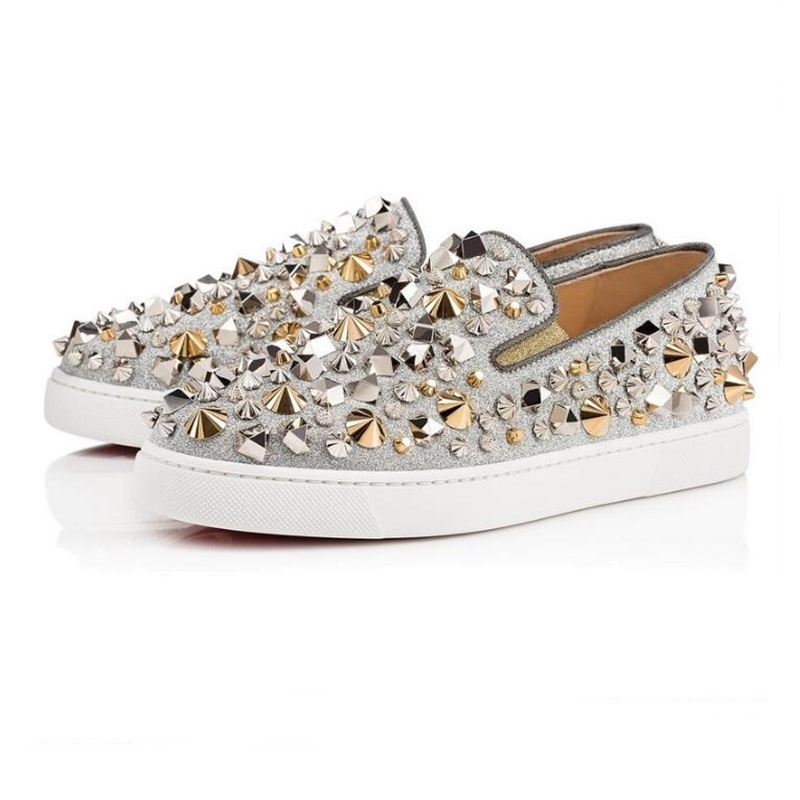 Woman Autumn Shoes Rivets Embellished Round Toe Woman Shoes Comfortable Casual Slip On Letaher Flats Shoes Big Size 35-45
