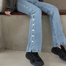 Корейская версия облегающих джинсовых брюк с завышенной талией