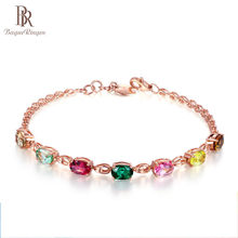Bague Ringen High Quality 7 colors Tourmaline Gemstone Bracelet for Women Elegant Delicate Silver 925 Jewelry for Weddings Party(China)
