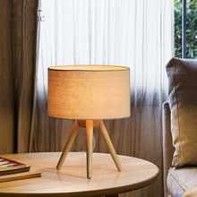 Modern Wood Linen Bedside Minimalist Table Lamp E27 AC 110V-240V US Plug Student Table Lamp Bedroom Indoor Bedside Lamp()