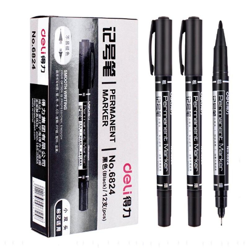 9 marcadores permanentes da ponta gêmea pçs/set, preto, vermelho, tinta azul, canetas de 0.5mm-1mm para artigos de papelaria do estudante dos materiais de escritório da escola