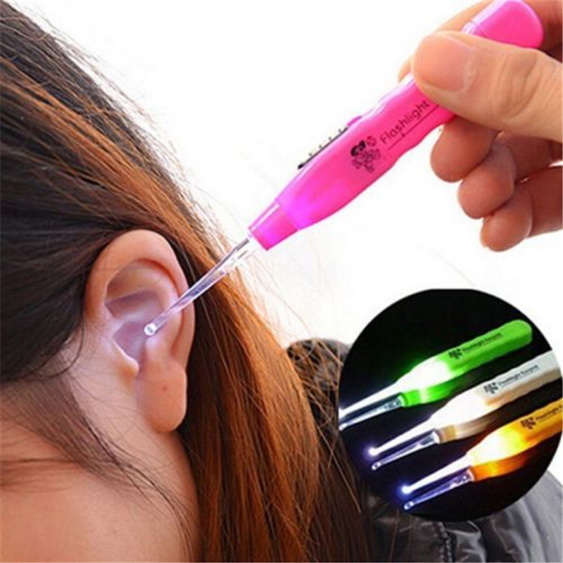 LED Flashing Light Ear Wax Remover Curette Cleaner Earpick Tool