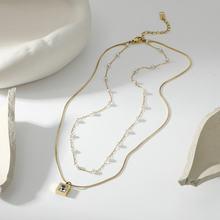 14k banhado a ouro de aço inoxidável quadrado zircão pérola pingente colar para mulher empilhável dupla camada cobra pilar corrente jóias