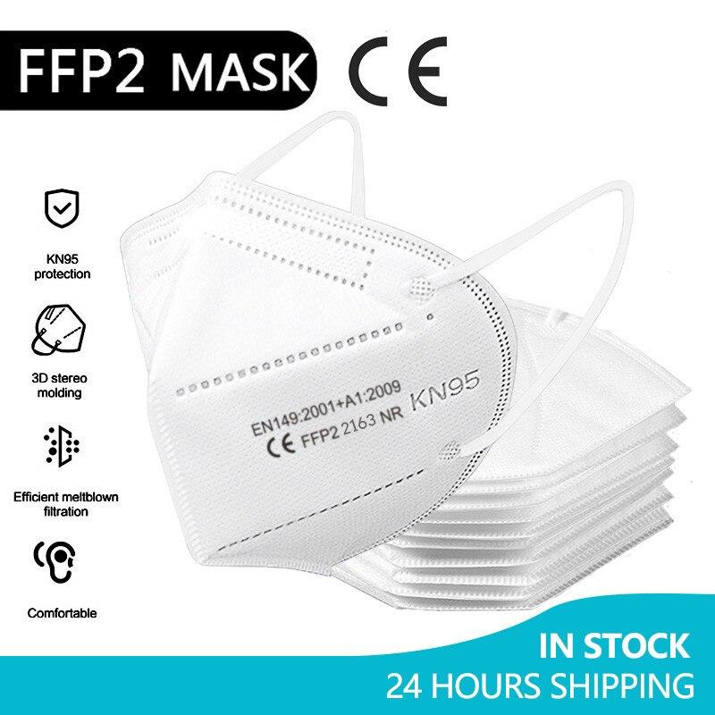 50 Mascarillas KN95 FPP2 Mascarilla FFP2mask Masque Protection FFP2 Mondkapjes Respirator Face Mask
