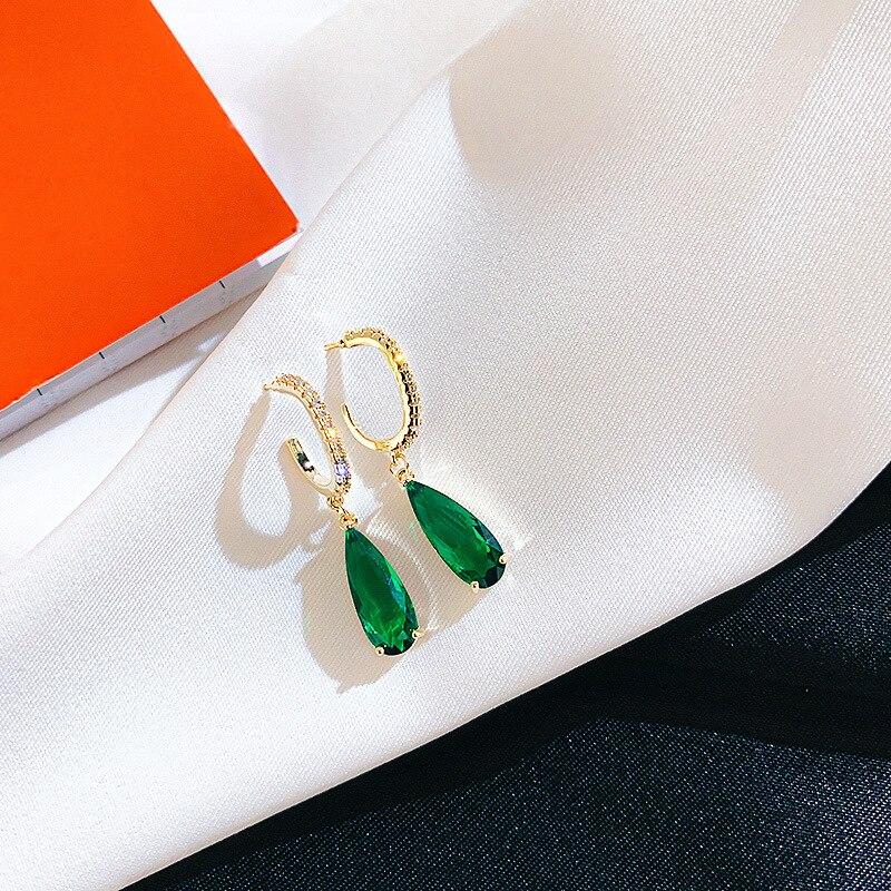 Женские серьги с Зелеными камнями и микро цирконием, 2020, новые ювелирные украшения, изящные серьги, подарки