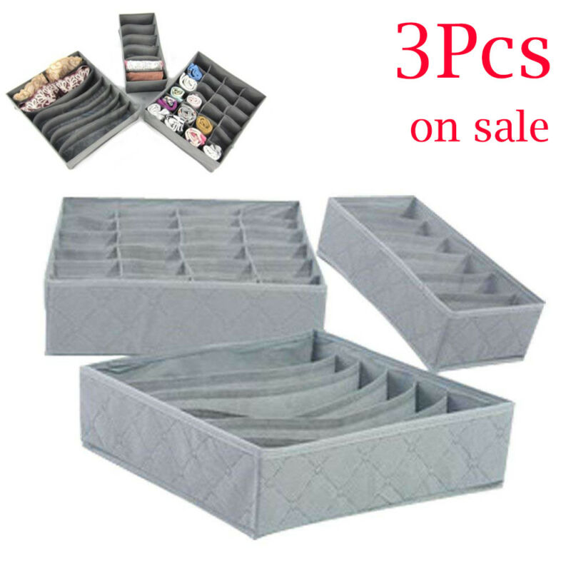 Drawer Organizers Case Socks Divider Underwear Bra Storage-Box Ties Foldable for Scarf title=