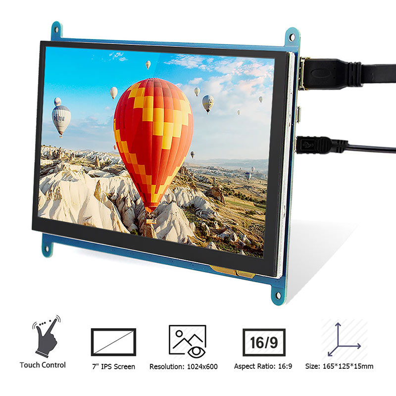 Raspberry Pi 4B Display 7 Zoll Kapazitiven Touchscreen HDMI 1024X600 HD <font><b>LCD</b></font> <font><b>Monitor</b></font> 7 zoll RPI Display für Raspberry Pi 3B + image