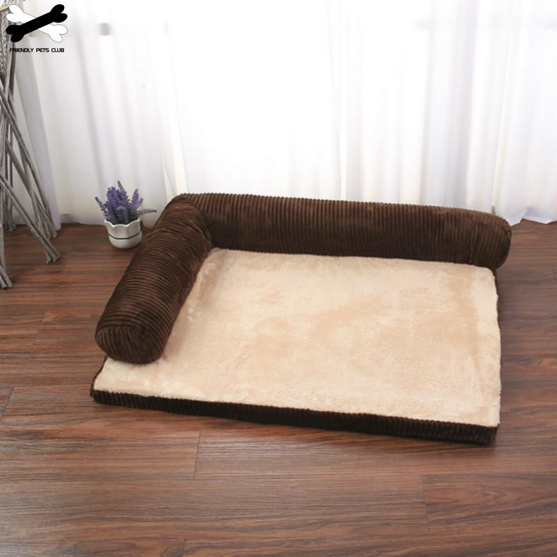 Pet Dog Bed Soft Cushion L Shaped Square Pillow Machine Washable Cover And Detachable Mat  Cat House For Puppy Medium Large Dog