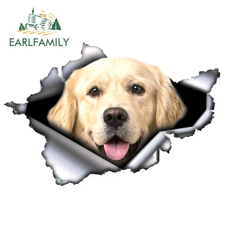 EARLFAMILY 13cm X 8.8cm Bright Golden Retriever Car Sticker Torn Metal Decal Reflective Stickers Waterproof Car Styling Decor