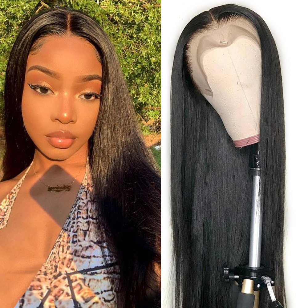 30 inch Straight Lace Front Human Hair Wigs for Black Women Pre Plucked Cheap 13x4inch Brazilian Lace Frontal Wigs 150% Density