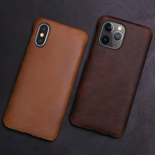 Genuine Leather Phone Case For iPhone 11 Pro Case Retro Crazy Horse Skin For Apple X XS Max XR 6 6S 7 8 Plus SE 2020 Cover Funda crazy horse genuine leather shell with stand for iphone 6s 6 4 7 inch brown