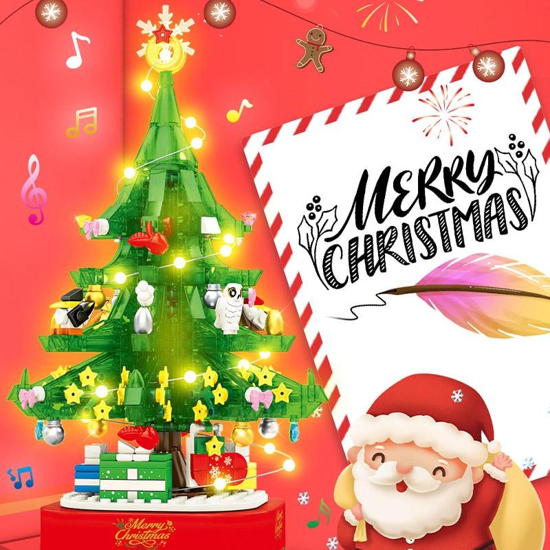 SEMBO Block Christmas Theme Rotating LED Shining Music Box Building Blocks