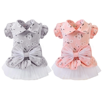 Pet Spring Summer Cotton Clothes For Dog Girls Small Medium Dog Cute Shirt Skirt Wiyh Bowknot HOT image