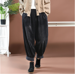 Autumn Winter Pants Women Large Size Loose Casual Trousers 2019 New Ladies Elastic Waist Pocket Mori Girl Vintage Pants