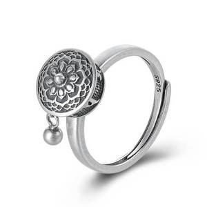 Спиннинг буддистское кольцо с мантрой с тибетской молитвой рулон-серебро 925 пробы