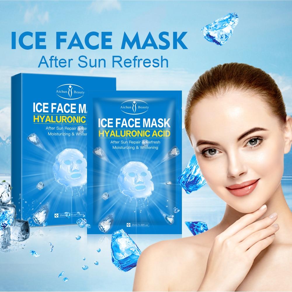 10 Pcs Moisturizing Ice Facial Mask Hyaluronic Acid Pores Nourishing Oil-control Anti-Aging Replenishment Whitening Mask