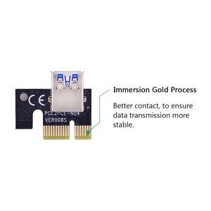 Image 3 - CHIPAL carte Riser double VER009S pcie LED/009S, PCI Express, câble USB 0.6, 1X à 16x3.0 M, alimentation 6 broches, pour Bitcoin Miner