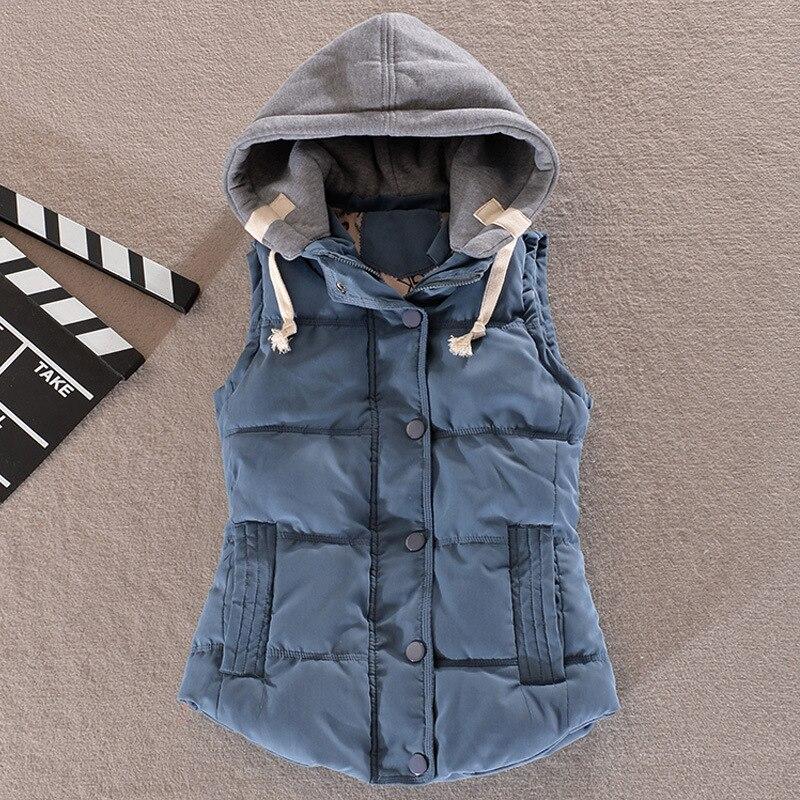 Plus Size 4xl Women Vest Winter Jacket Pocket Hooded Coat Warm Casual Cotton Padded Vest Female Slim Sleeveless Waistcoat