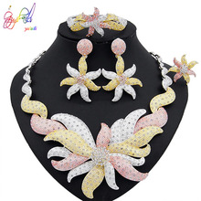 Yulaili Wholesale Women Party Brithday Gift African Flower Dubai Jewelry Sets Nigerian Wedding Crystal Trendy Necklace Earrings