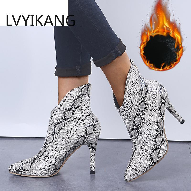 Size 36-42 Ankle Fashion Pointed Toe Ladies Sexy Shoes New Chelsea Thin High Heel Snake Skin Women Zipper Boots Print