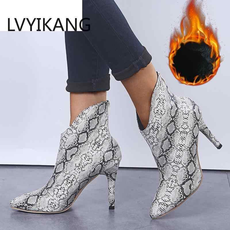 גודל 36-42 קרסול אופנה מחודדת הבוהן גבירותיי נעליים סקסיות חדש צ 'לסי דק גבוהה העקב נחש עור נשים רוכסן מגפי הדפסת