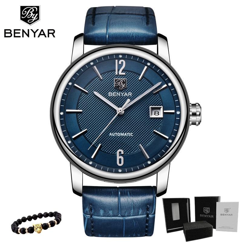 BENYAR 2018 New Fashion Top Luxury Brand Leather Watch Automatic Men Wristwatch Men Mechanical Steel Watches Relogio Masculino