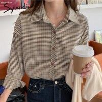 Syiwidii camicette con bottoni scozzesi Vintage donna colletto rovesciato manica lunga abbigliamento sciolto 2021 primavera moda coreana nuove camicie