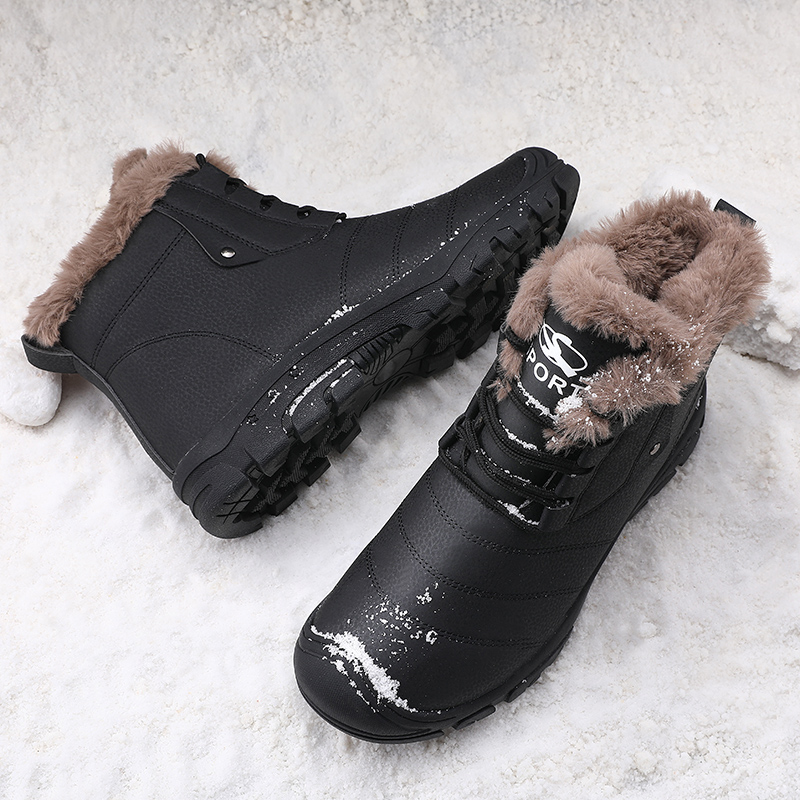 Plus Size 48 Winter Boots Men Warm Snow Boots Male Bot High Quality Casual Shoes Waterproof Leather Shoes Velvet Bota Masculina