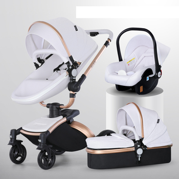 Baby Stroller 3 in 1 Luxury Pram For Newborn Carriage PU leather High Landscape trolley car 360 rotating baby Pushchair shell image