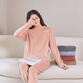 Pijamas de franela cálidos para Mujer, Pijamas de Invierno, ropa de casa sólida para Mujer, Pijamas de Año Nuevo, pijama de Mujer, ropa de casa