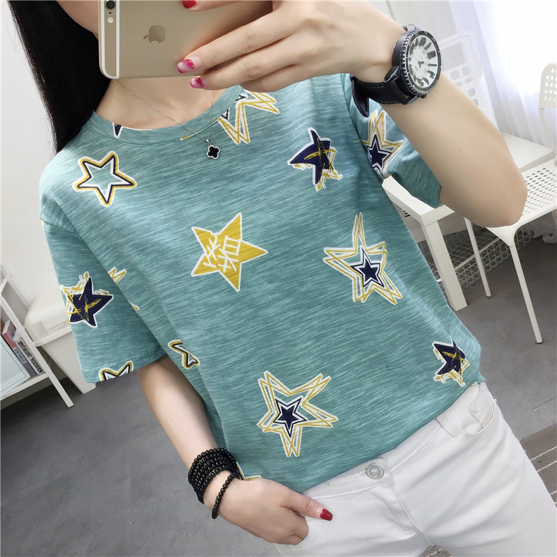 Graffiti Star Print Women Summer T Shirt 2019 new Funny Korean Style harajuku Vogue Short sleeve funny basic white tunic Clothes in T Shirts from Women 39 s Clothing