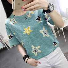 Graffiti Star Print Women Summer T Shirt 2019 new Funny Korean Style harajuku Vogue Short sleeve funny basic white tunic Clothes