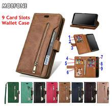 Folio Book Leather Wallet Case Op Oneplus 5 T Retro Dagboek Flip Cover Voor Oneplus5T 5 T Rits 9 Card slots Stand Fundas Gevallen