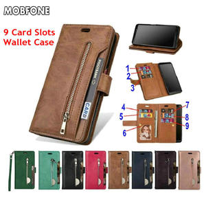 Image 1 - Folio Book Leather Wallet Case on Oneplus 5T Retro Diary Flip Cover for Oneplus5T 5 T Zipper 9 Card Slots Stand Fundas Cases