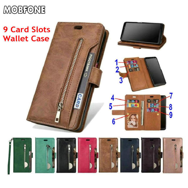 Folio Book Leather Wallet Case on Oneplus 5T Retro Diary Flip Cover for Oneplus5T 5 T Zipper 9 Card Slots Stand Fundas Cases