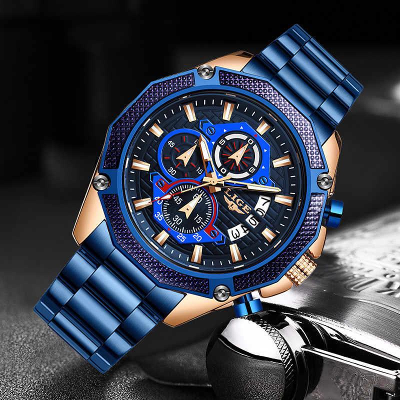 LIGE nuevos relojes para hombre LIGE marca de lujo superior de acero inoxidable azul de negocios reloj de cuarzo para hombre cronógrafo de fecha impermeable Casual para hombre