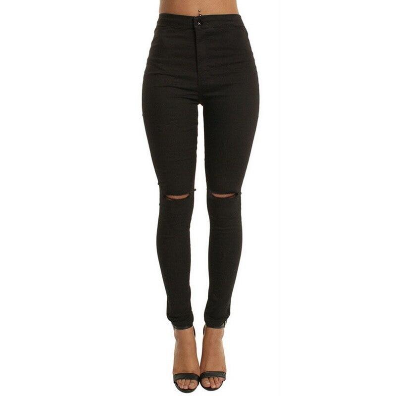 Oeak 2019 Fashion   Jean   Woman   Jeans   Pants Autumn New Boyfriend   Jeans   For Women With High Waist Hole Plus Size Ladies Pencil Pants