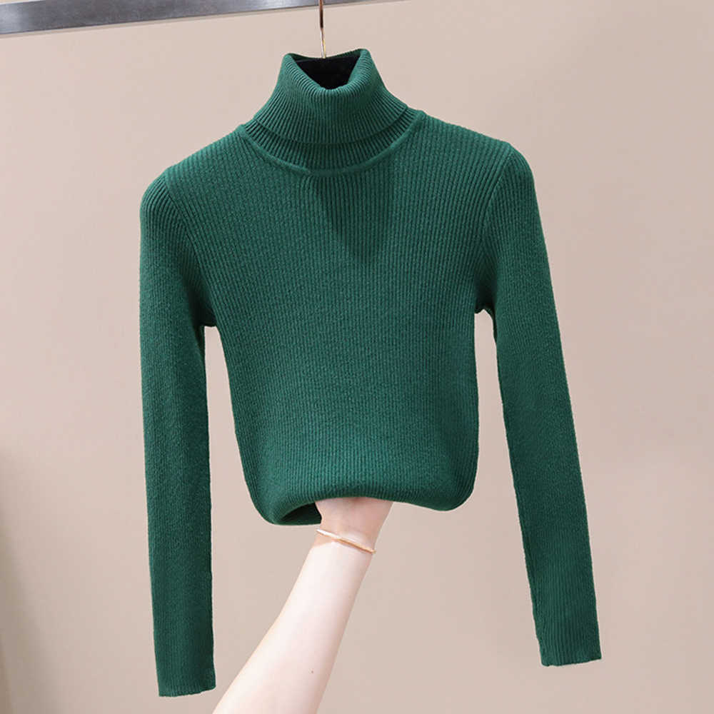 CYSINCOS ฤดูใบไม้ร่วงฤดูหนาวถักเสื้อกันหนาวผู้หญิงแฟชั่นโปโลคอเสื้อ 2019 ใหม่ Slim Femme ความยืดหยุ่น Pullovers