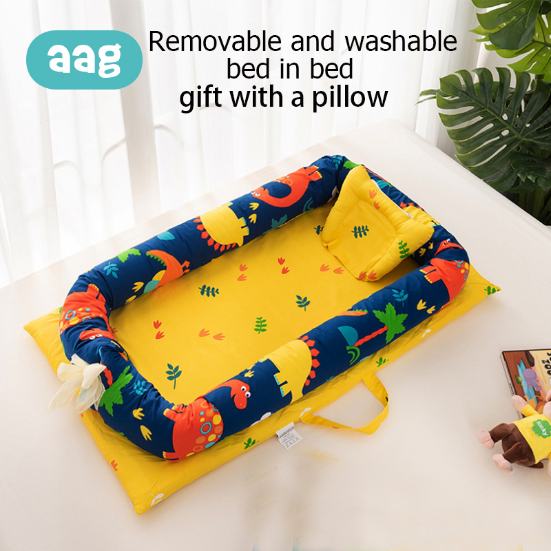AAG Cotton Baby Nest Bed Crib Portable Detachable Foldable Zipper Newborn Travel Bed Crib Imitation Uterus
