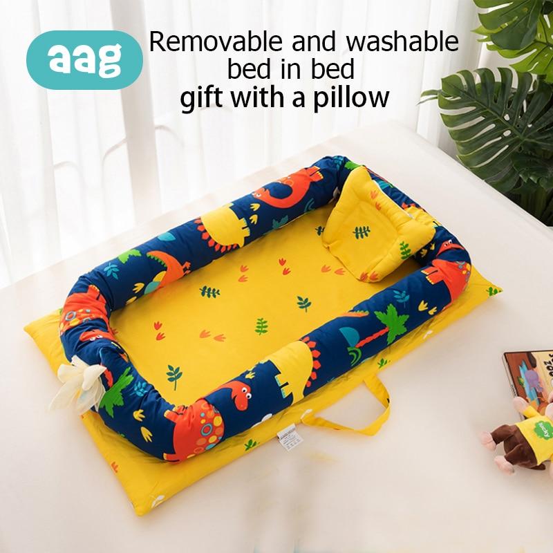 AAG coton bébé nid lit nouveau-né berceau lit Portable détachable nouveau-né voyage lit dessin animé berceau bébé couffin pare-chocs chambre décor