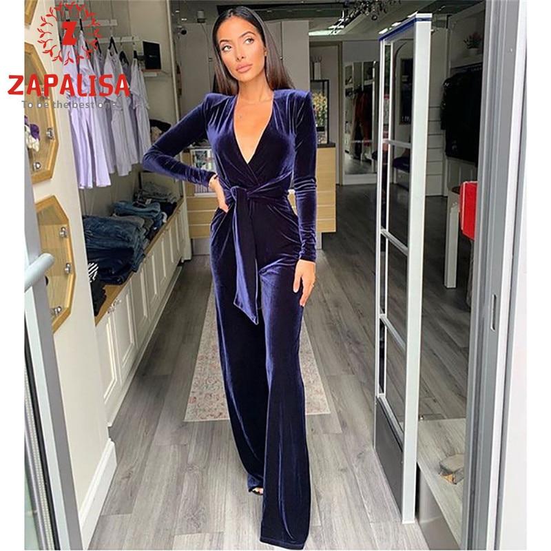 Zapalisa Solid Color Velvet Bandage Jumpsuit Long Sleeve Deep V Sexy Jumpsuit Elegant Slim Streetwear Flare Overalls